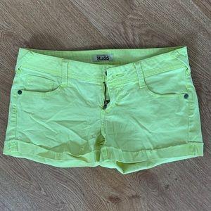 Neon Green Mudd Shorts